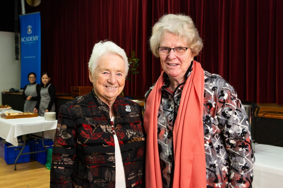 (L) Mary Dennett rsm who gave an account of the founding years with Trudy Keur rsm (R)