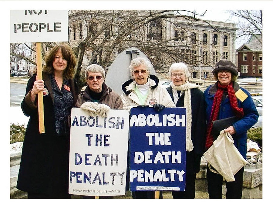 L-R: Maggie Fogarty, AFSC (American Friends Service Committee ) New Hampshire program, Sisters Mary Ellen Foley, May Cronin and Madonna Moran and Marti Hunt, New Hampshire Death Penalty Coalition member