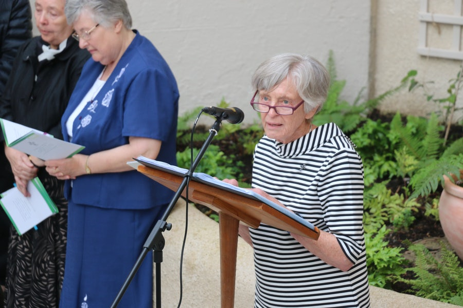 Margaret Scroope rsm reading poem 'Garden' by Mary Wickham rsm
