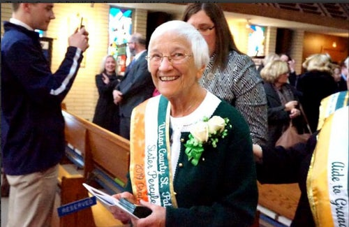 Union County St. Patrick's Day Parade 2019 Grand Marshal Sister Percylee Hart, rsm