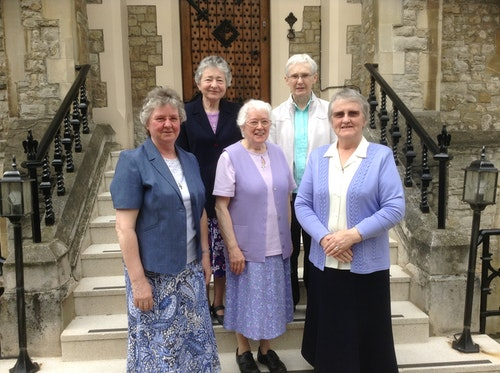 Geraldine Lawlor rsm, Philomena Bowers rsm (Congregational Leader), Evelyn Gallagher rsm (Vicaress) Back row: Monica Killeen rsm, Mary Horgan rsm