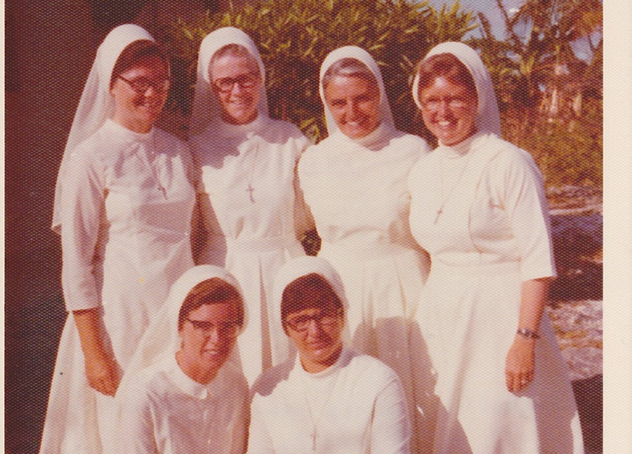 (Front) Sisters Barbara Brennan and Elizabeth Desjardins; (Back) Sisters Mary Miller, M. Denis Schwartz (deceased), M. Garrett, Phyllis Martin. Mother Mary Denis and the five sisters in the Bahamas, September 1975 – July 1976