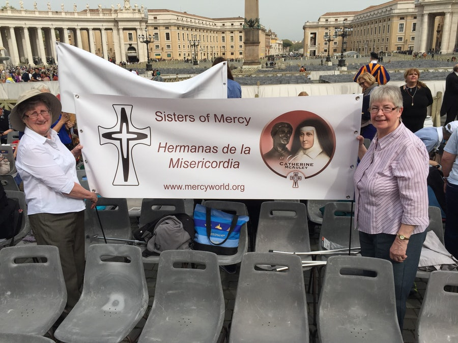 Srs Bridie and Betty with the Mercy Banner