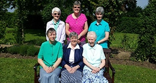 Barbara Jeffery rsm, Colette  Cronin rsm (Institute Leader), Joan Breen rsm <br> Back row : Maura Mullen rsm, Bernie Holmes rsm, Lyndsay Spendelow rsm (Assistant)