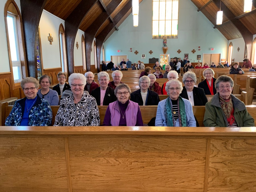 Sisters of Mercy at the celebrations<br>.R1, L-r: Srs Sheila Grant, Betty, Nellie,Irene, Maura. <br>R2, L-r: Srs Eileen, Sheila O'Dea (partially visible), Rosemary, Mona, Diane. <br> R.3, L-r: Srs Maureen, Monica, Margie, Patricia, Rosaline, Loretta