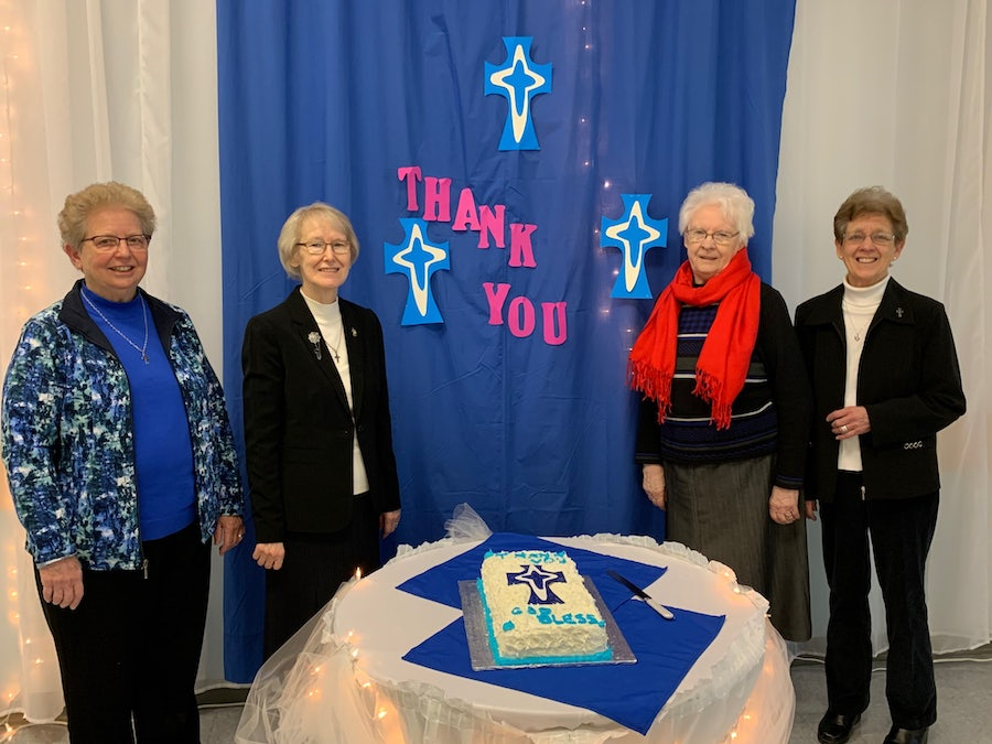 Bell Islanders Srs Sheila Grant, Loretta Walsh and Maureen O'Keefe with Sr Rosaline (3rd) last Sister to serve on Bell Island.