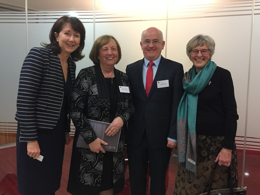Mary Moorhead, Mary Reynolds rsm, Kevin Hoy, Margaret Scroope rsm at Good Governance Awards 2017