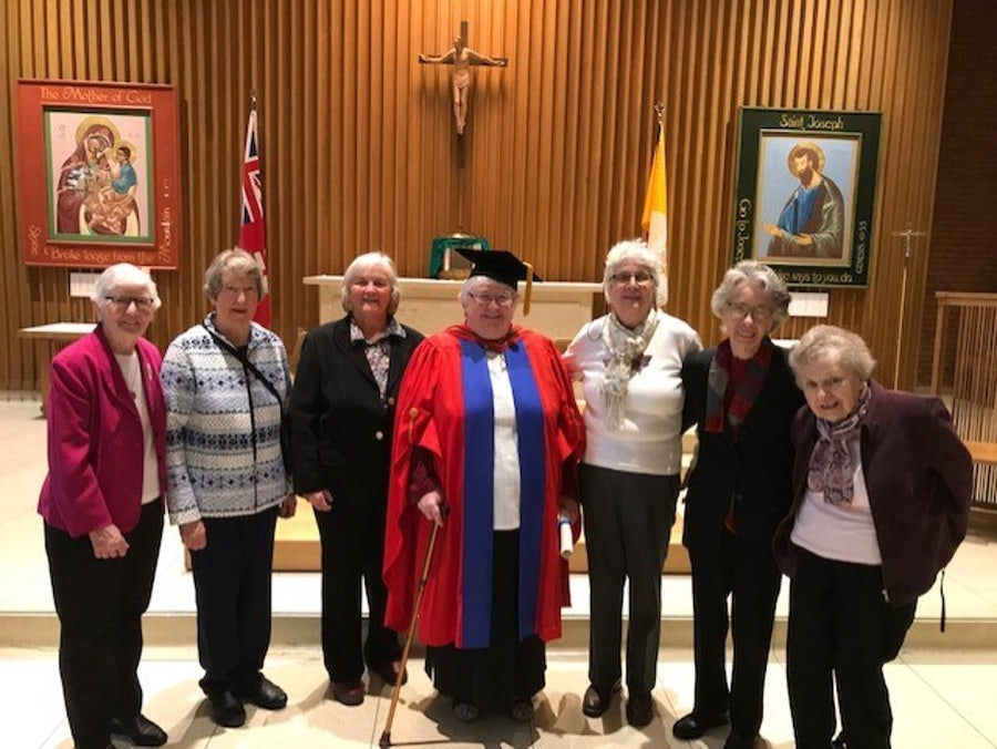 Surrounded by community, family and friends.<br> L-r: Patricia March rsm, Madonna Gatherall rsm, Rose Davis (sister), Elizabeth, Ivanne Hunter ibvm, Mary Sullivan rsm, Marilyn Williams rsm