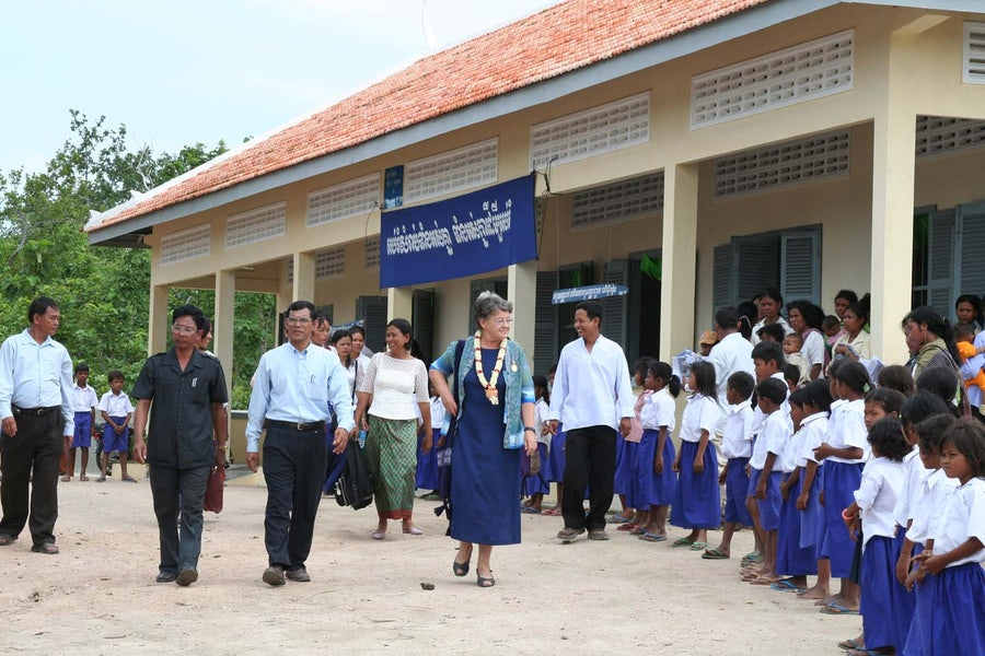 Our first project TOGETHER when we worked with Sister Denise Coghlan (Pictured) and built a small school in Cambodia