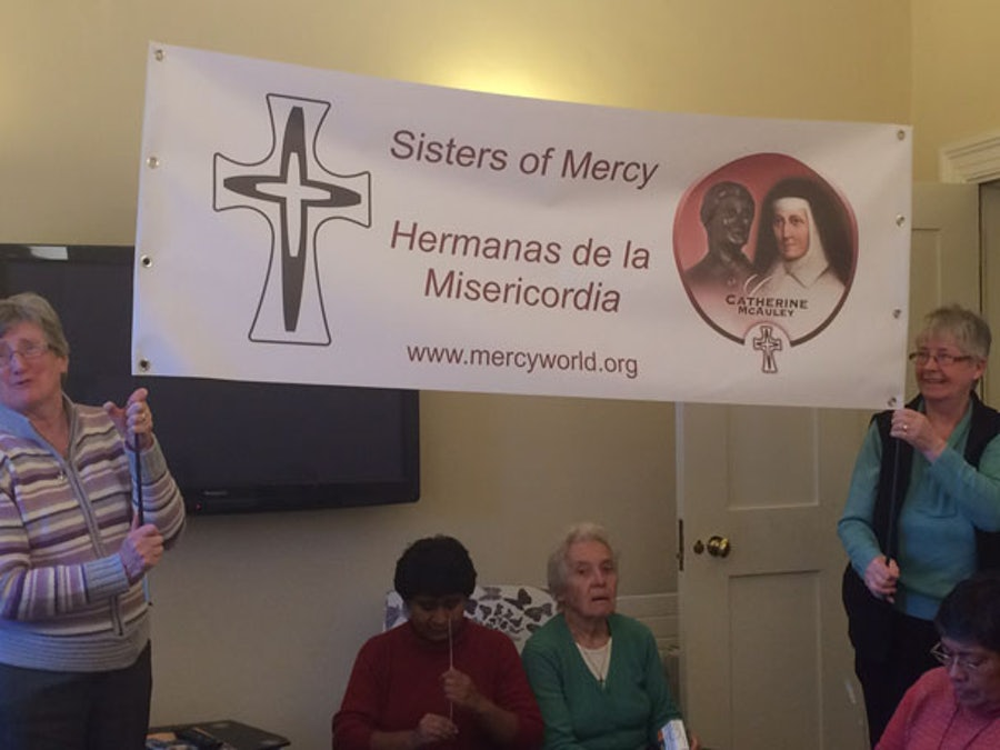 The Mercy banner displayed