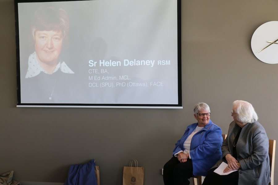 Helen Delaney rsm was introduced with a powerpoint presentation