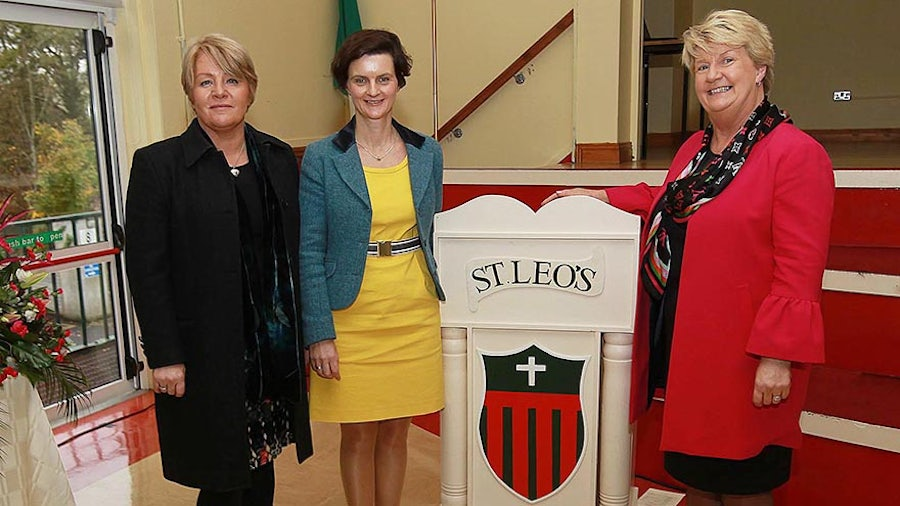 Mairead Redmond (Staff member,  St Leo's College), Dr Eimear Cotter (Past Pupil, now Directorof the Office of Environmental Sustainability (OES) who gave the 8th annual Catherine McAuley lecture as part of the ceremony, and Clare Ryan (Principal, St Leo's College)