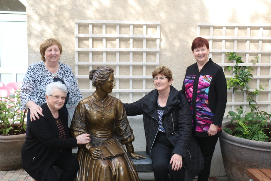 Standing: Mary Reynolds rsm, Gael O'Leary (Sculptor). Seated : Anna (Gael's Assistant, Caitlin Conneely rsm