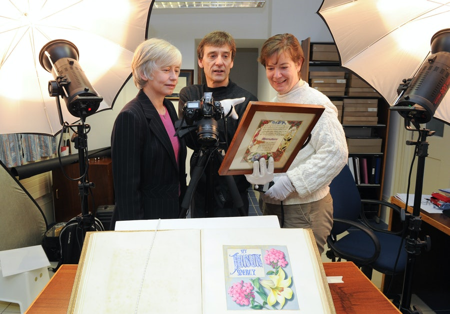 Marianne Cosgrave, David Knight, Mary Kay Dobrovolny rsm at commencement of archival digitisation project, 2012