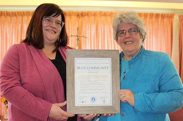 Sisters of Mercy Newfoundland Recognised as a Blue Community