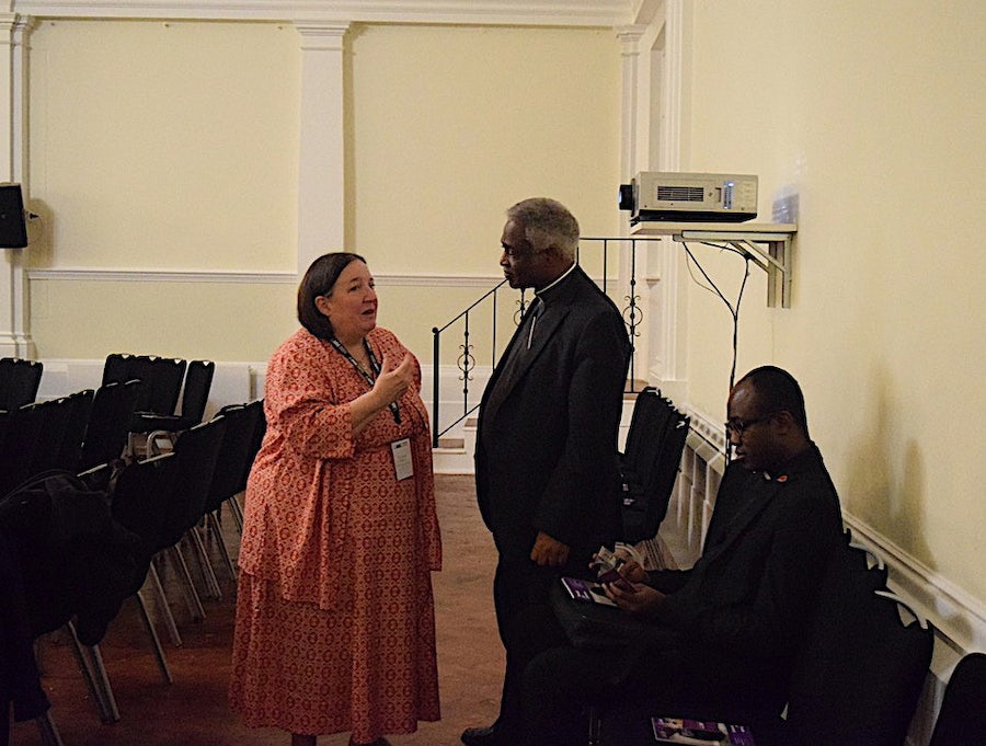 Sr Lynda speaking with Cardinal Turkson