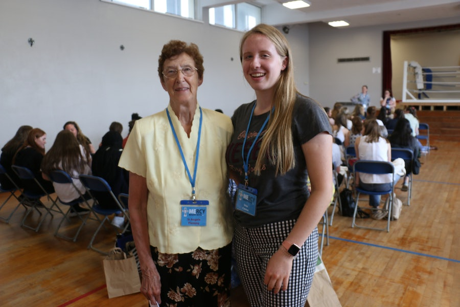 Sr Angela Fleming and her grand-niece Una Carew, student