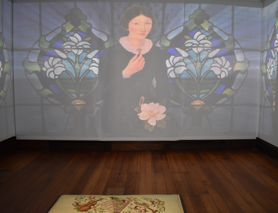 'Our working Hearts' video installation showing the footprint of the Sisters of Mercy in Queensland. <br>The first chapter features the story of MM Vincent Whitty. <br>Image of portrait 'Ellen' by Megan Seres