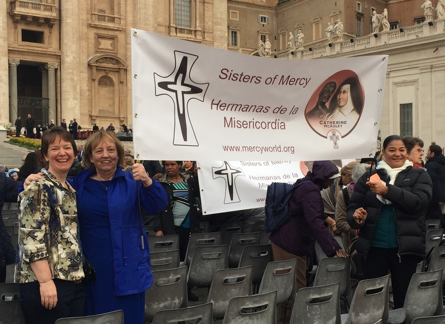 L-r: Mary Kay Dobrovolny rsm and Mary Reynolds rsm inside St Peters Square