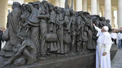In St. Peter's Square, Pope Francis Unveils Life-size Sculpture of Migrants Throughout History & World