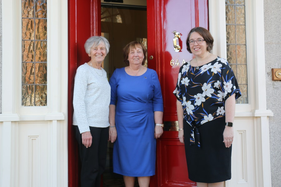 L-R: MSrs Margaret Scroope, Mary Reynolds, Anna Nicholls welcoming all to Baggot Street