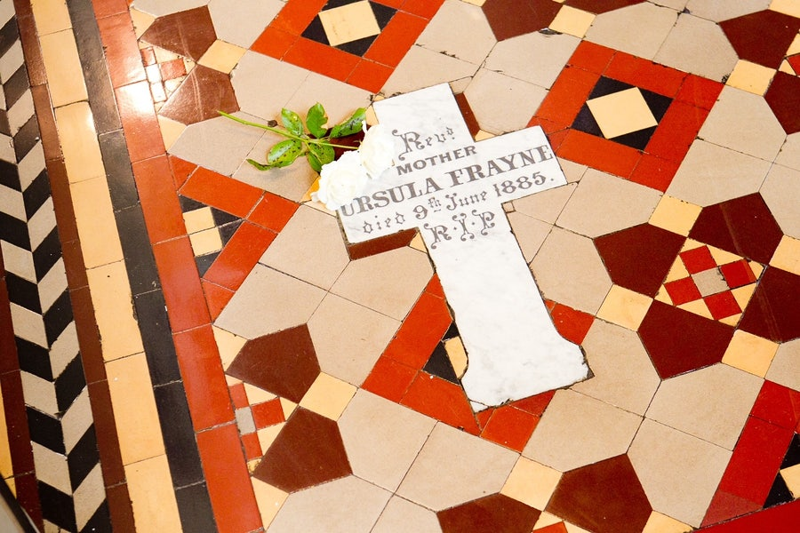 Gravestone of M Ursula Frayne in the floor of the Nicholson Street Mercy chapel named for her