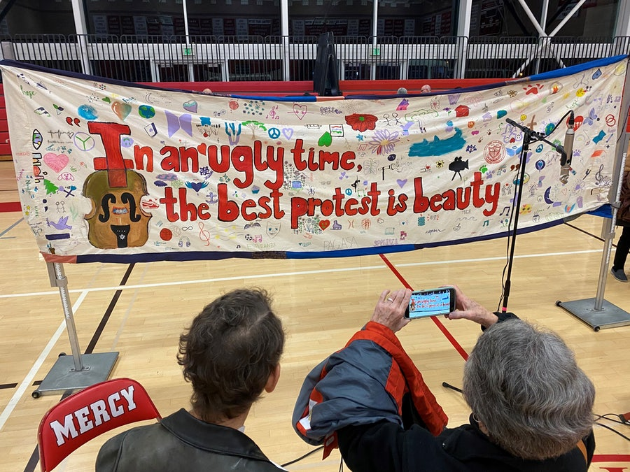 A banner created by students at Mercy High School
