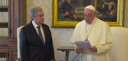 Pope Francis & UN Secretary-General Meet and Record Message for World Peace and Harmony