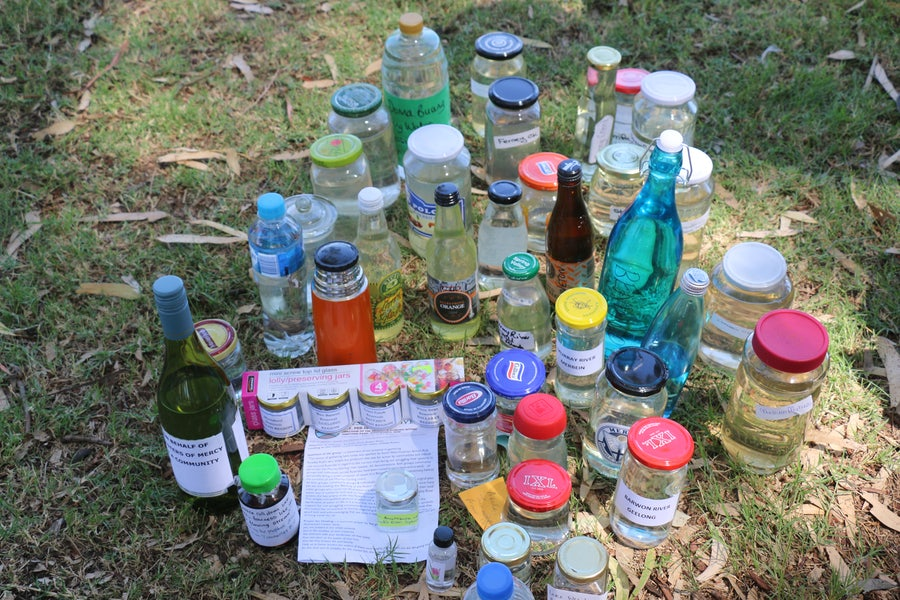 Some of the emptied bottles