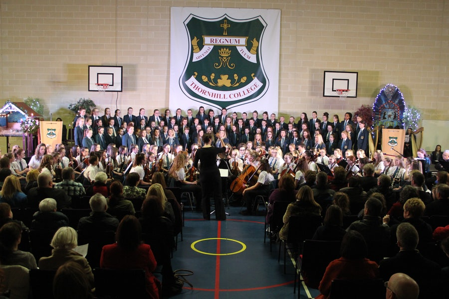 Thornhill College Derry students sing as part of fundraising for the Mercy Girl Effect