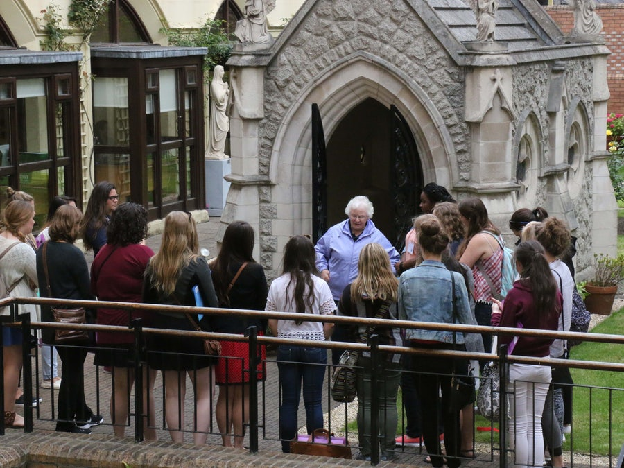 Sheila Carney rsm and pilgrims at Catherine's Grave