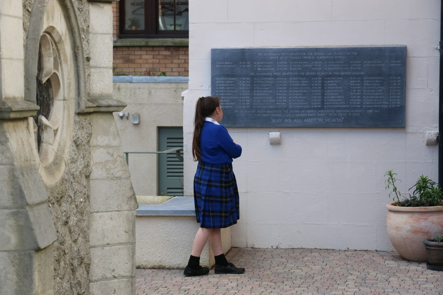 Studying the Memorial wall