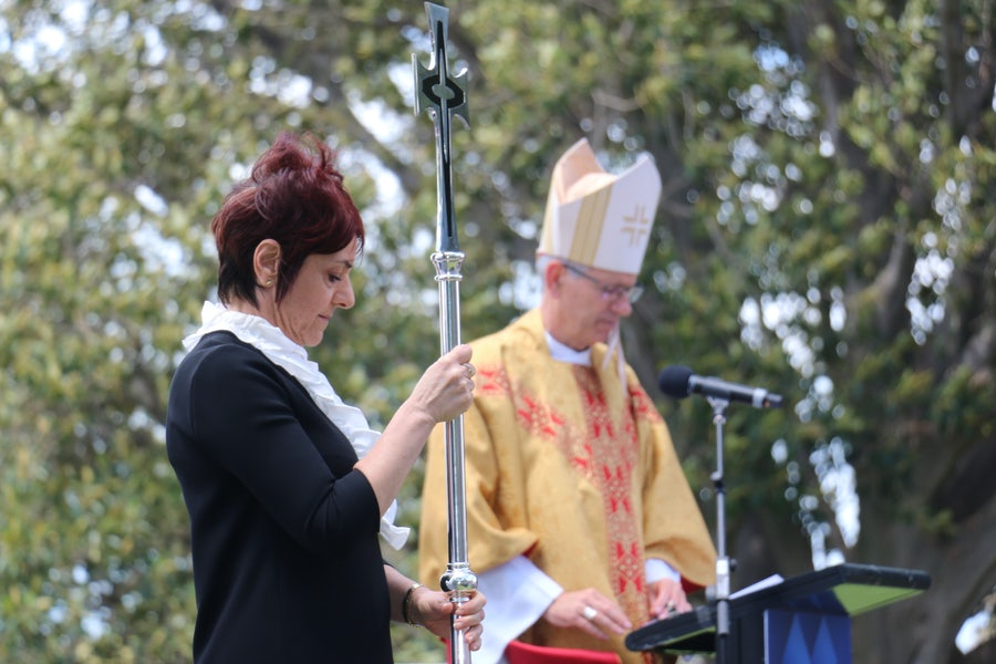 Anna Negro (College Principal), Bishop Mark preparing for final procession
