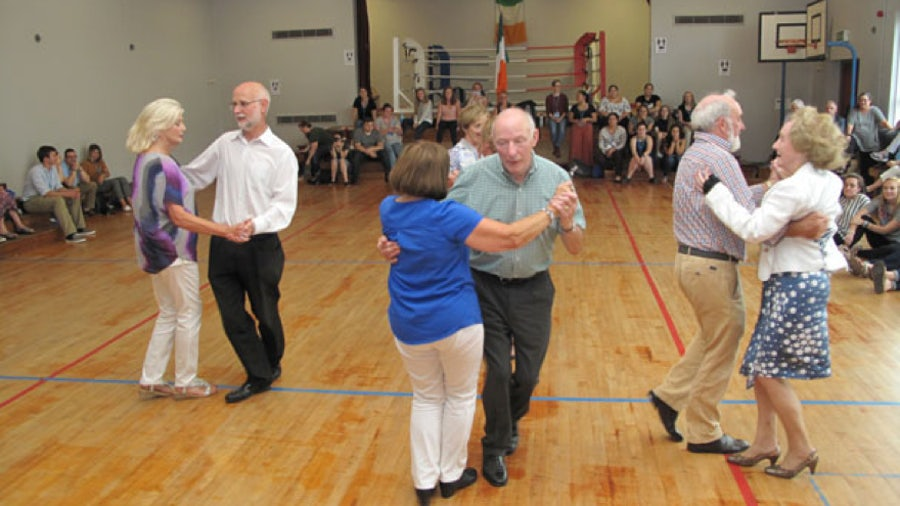 Experienced Ceili dancers demonstrating the steps