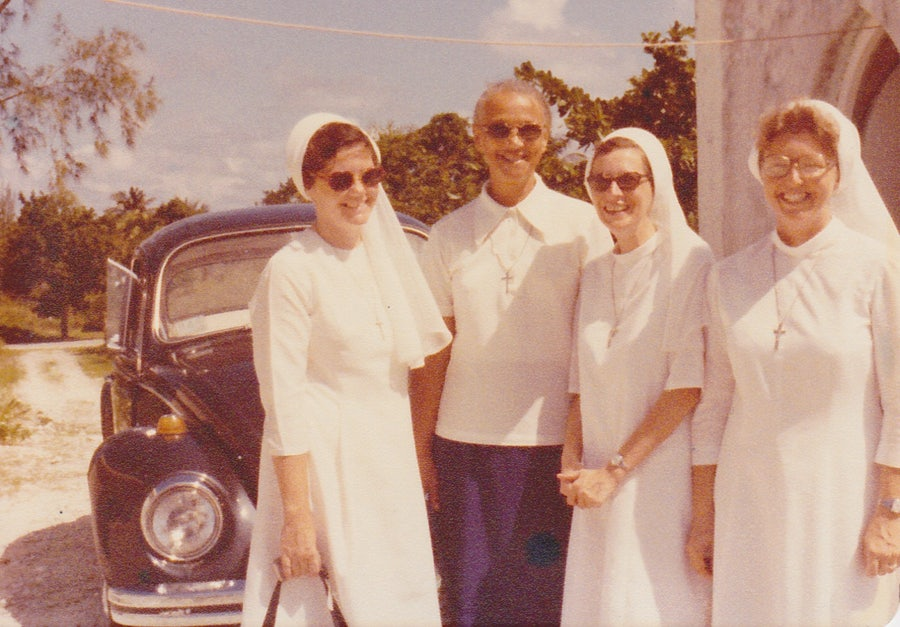 Sister Mary Miller, Sister Teresa, S.C., Sister Doreen LaBrie, Sister Phyllis Martin. Photo taken in 1978, South Andros.