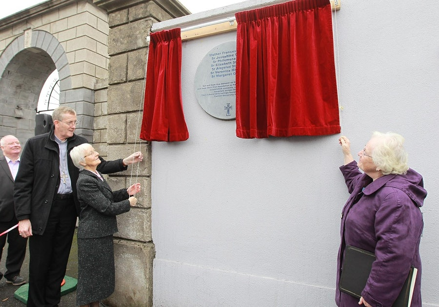 Bishop Denis Nulty (Bishop of Kildare & Leighlin), Kathleen Kennedy rsm (Past Principal of St Leo's), Sheila Carney rsm (Americas, Special Assistant to the President of Carlow University, Pittsburgh), unveiling the plaque at the convent gate on Dublin Road, Carlow