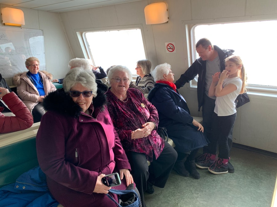 At back, Sr Sheila Grant. Front: Srs Diane, Margie Rosaline. Sr Rosaline, seen here talking with a Bell Islander, was the last Sister to serve on the island