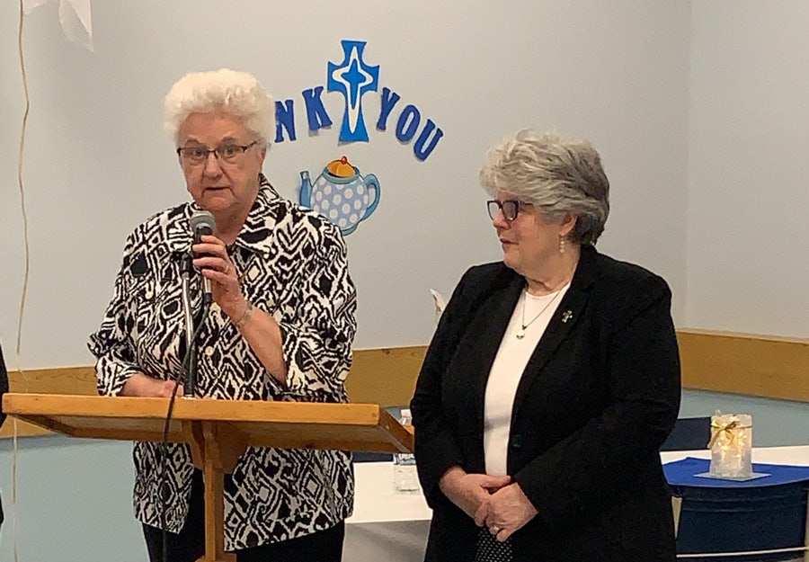 After Diane Smyth rsm (R) thanked the gathering for their welcome and celebration, Betty Morrissey rsm (R), Leadership Team Representative on Kitty's Partners Overseas Associates Committee, thanked them for their faithfulness and commitment to Mercy and to the Church
