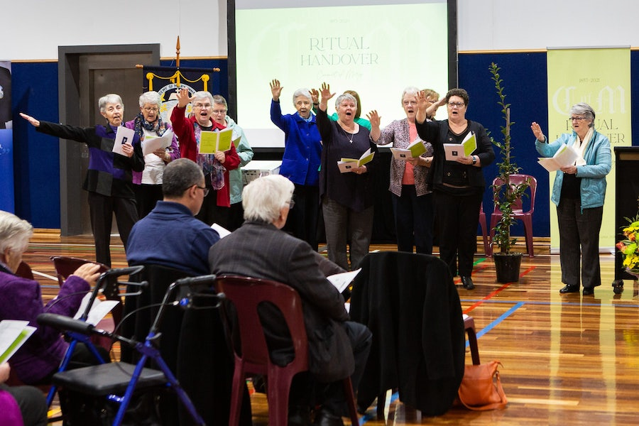 Sisters join ILT members Eveline Crotty rsm, Caroline Ryan rsm, Gaye Lennon rsm and Marie Ralph rsm, Community Leader South C, in singing the blessing of affirmation upon Academy Staff and Students
