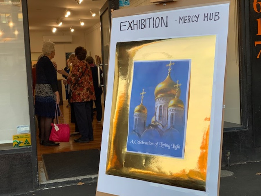 The sign outside the Mercy Hub advertising the exhibition