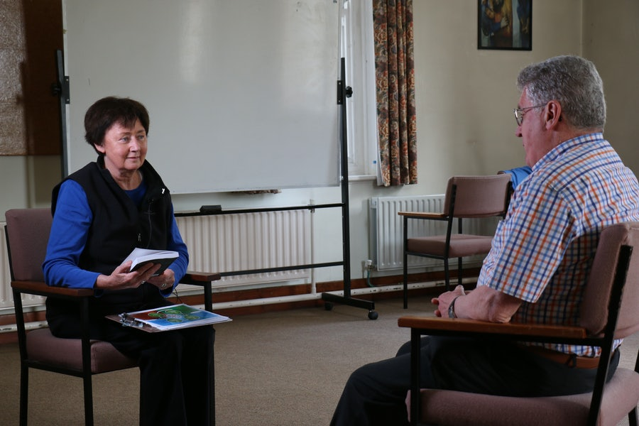 Adele Howard rsm interviewing eco-theologian Séan McDonagh ssc for MIRP VOICES project, 2016