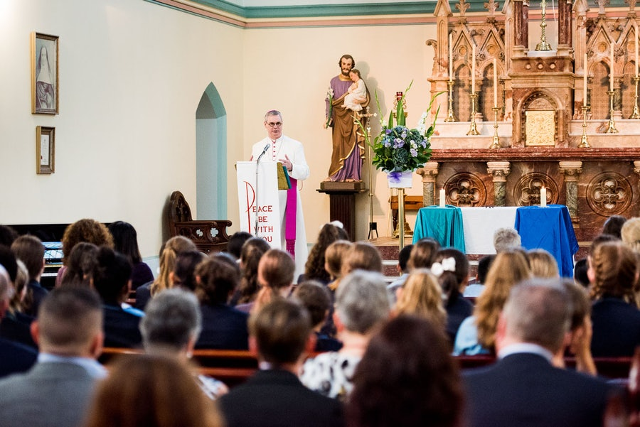 Archbishop Comensoli addressing the gathering during the liturgy in the Academy chapel