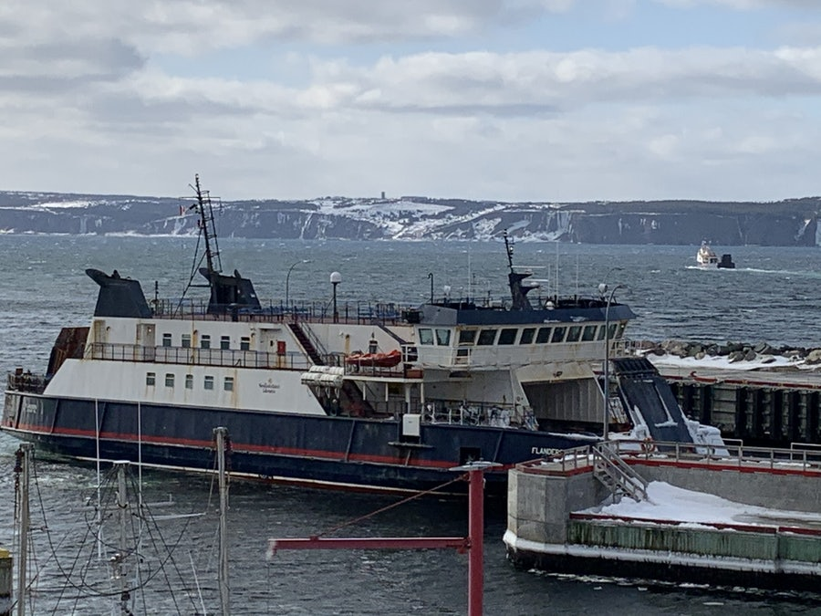 Bell Island Ferry. Bell Island can be seen in the background. <br>It's a 20 minute ride across 'the Tickle' from Portugal Cove, on the Avalon peninsula in eastern Newfoundland, to Bell Island in the middle of Conception Bay