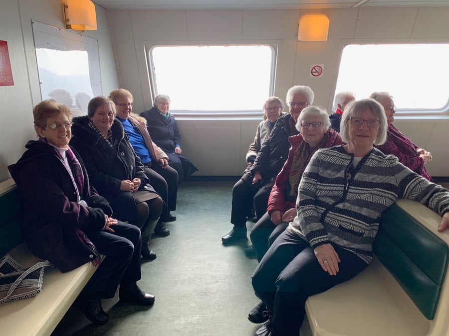 Some of the 16 Sisters who made the journey back to Bell Island. <br> On left, from front: Srs Maureen, Eileen, Sheila Grant, Mona <br> On Right, from front, Srs Sheila O'Dea, Patricia, Betty, Nellie
