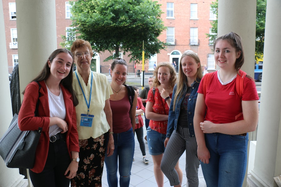 L-R Megan O'Neill, Sr Angela Fleming (Chaperones) and students from Mount Saint Michael's Secondary School Rosscarberry, Co. Cork
