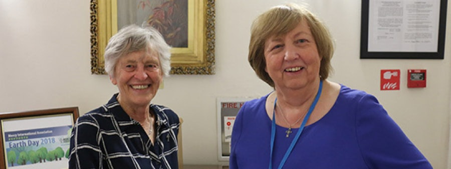 Margaret Scroope rsm and Mary Reynolds rsm before pilgrims arrive